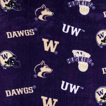 University of Washington Allover Collegiate Fleece Fabric